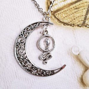 Silver Filigree Crescent Moon with Snake Necklace